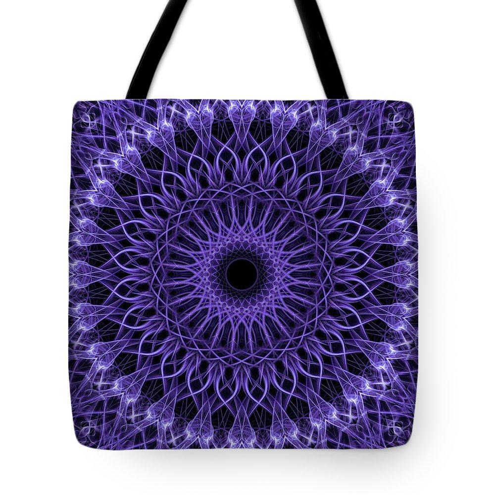 Mandala Tote Bag featuring the digital art Violet Digital Mandala by Jaroslaw Blaminsky