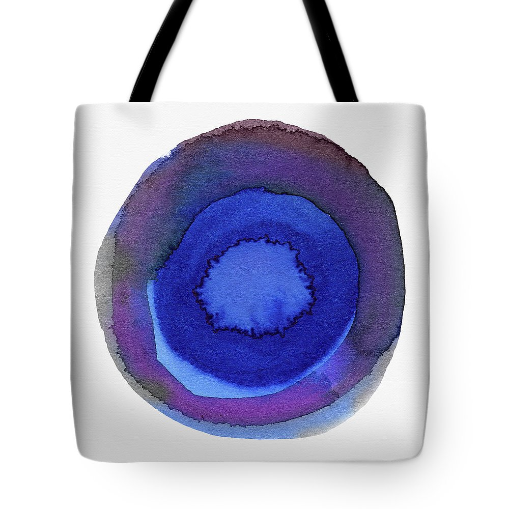 Blue Tote Bag featuring the painting Violet Drops 1- Art By Linda Woods by Linda Woods