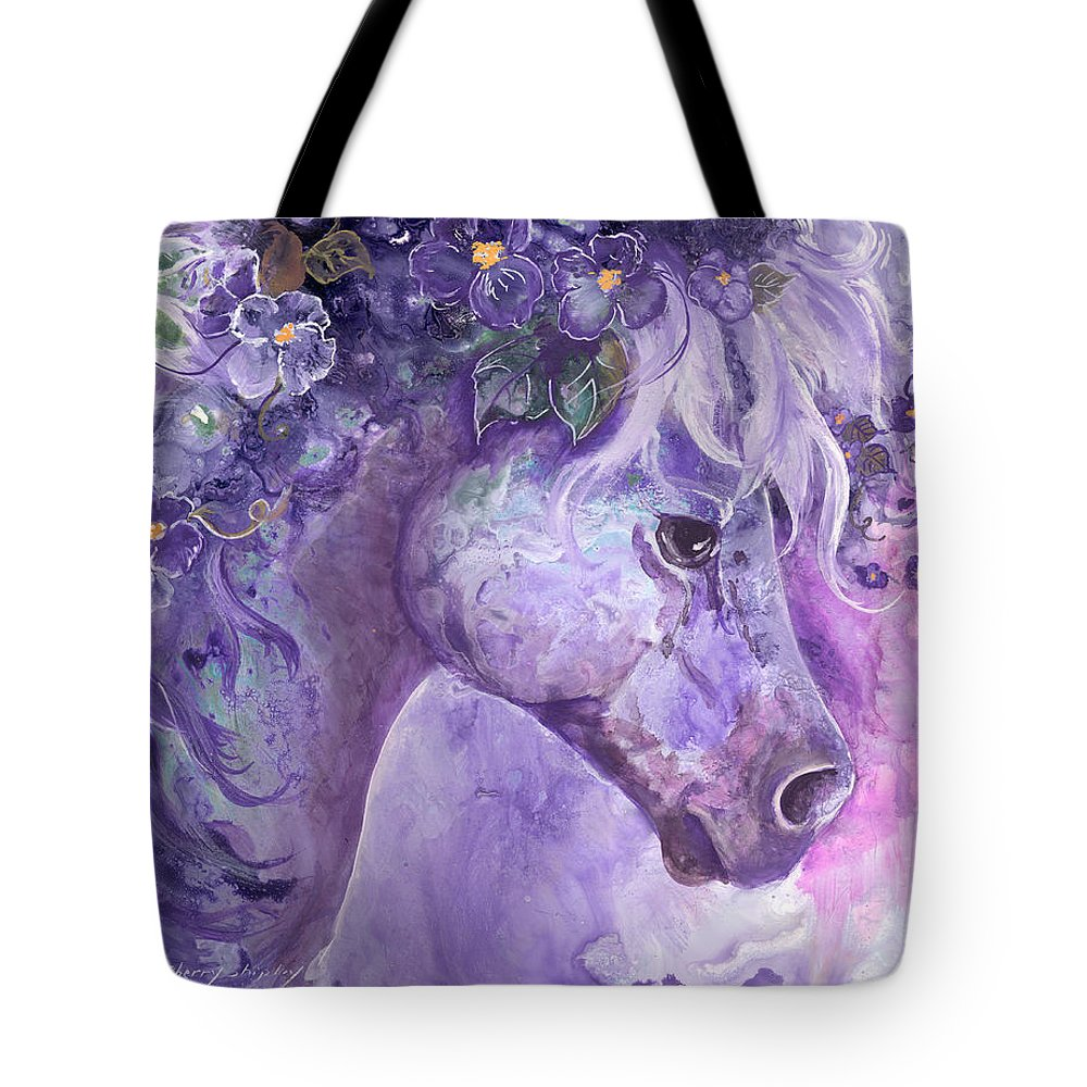 Horse Tote Bag featuring the painting Violet Fantasy by Sherry Shipley