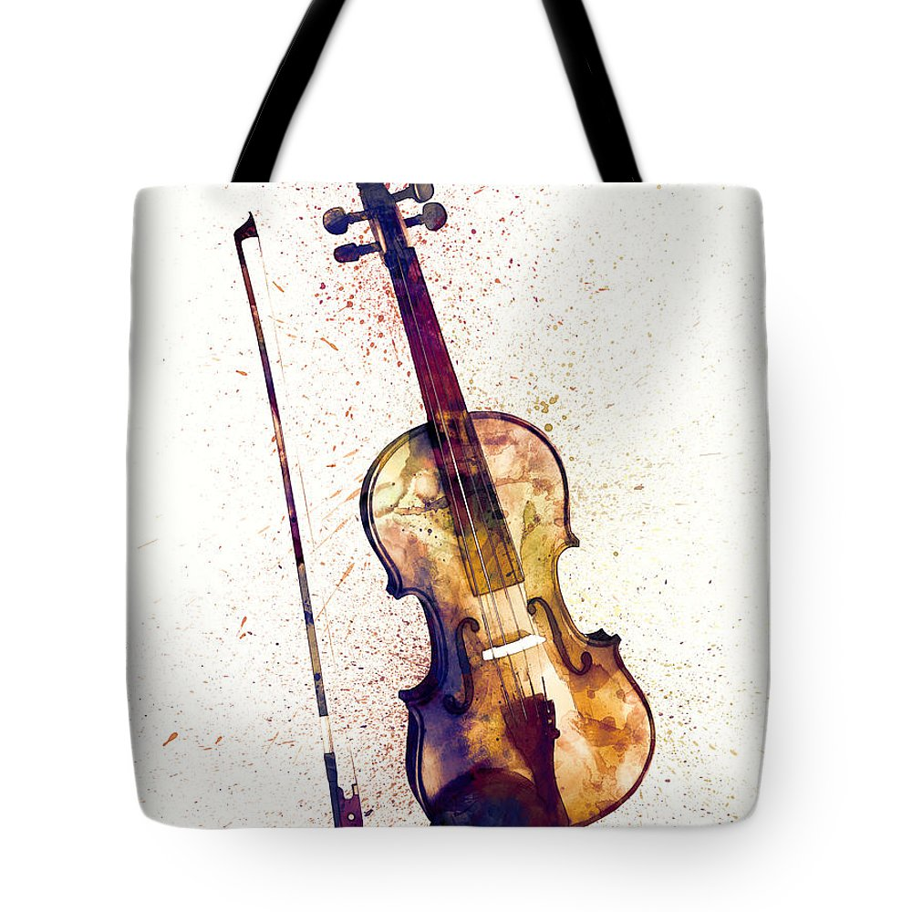 Musical Instrument Tote Bag featuring the digital art Violin Abstract Watercolor by Michael Tompsett