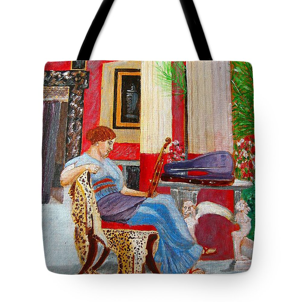 Violin Tote Bag featuring the painting Violin Admirer by Richard Le Page