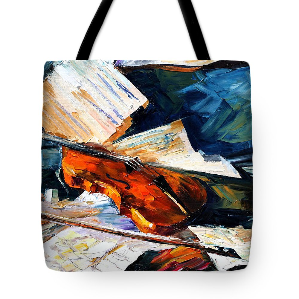 Music Tote Bag featuring the painting Violin by Leonid Afremov