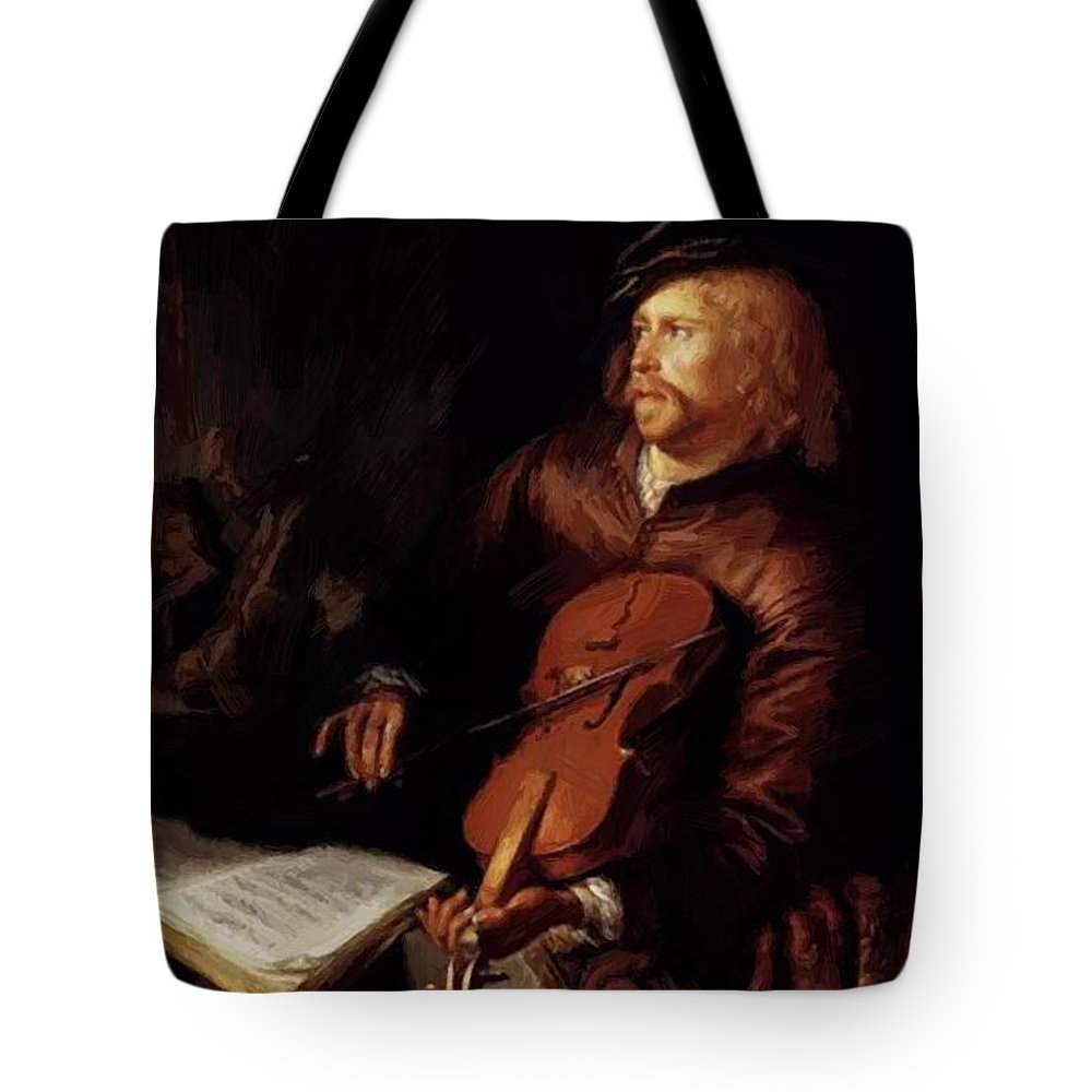 Violin Tote Bag featuring the painting Violin Player 1653 by Dou Gerrit