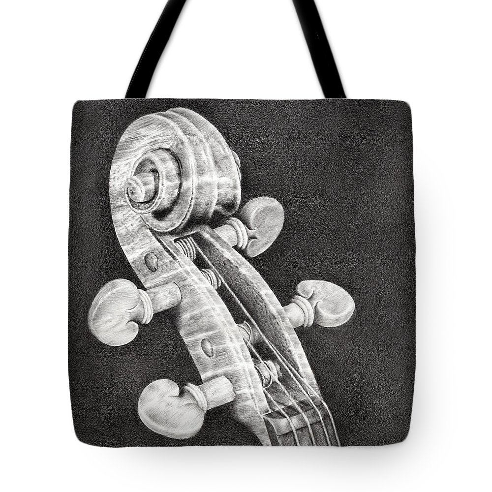 Violin Tote Bag featuring the drawing Violin Scroll by Remrov
