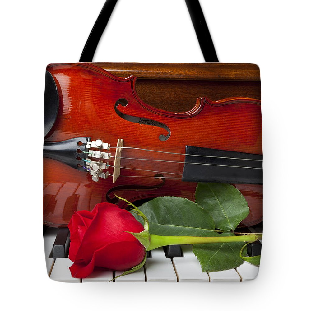 Violin Tote Bag featuring the photograph Violin With Rose On Piano by Garry Gay