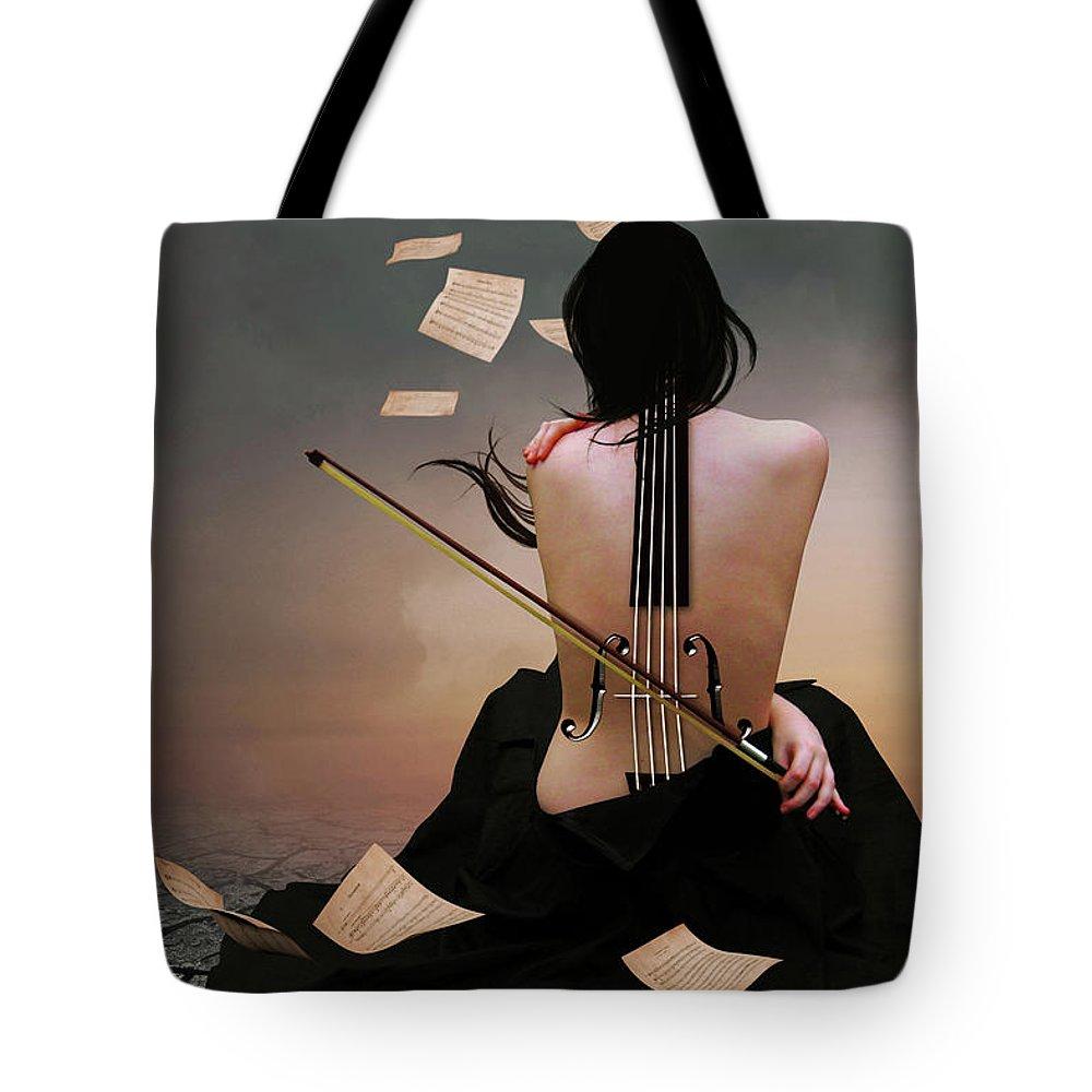 Surreal Tote Bag featuring the digital art Violin Woman by Mihaela Pater