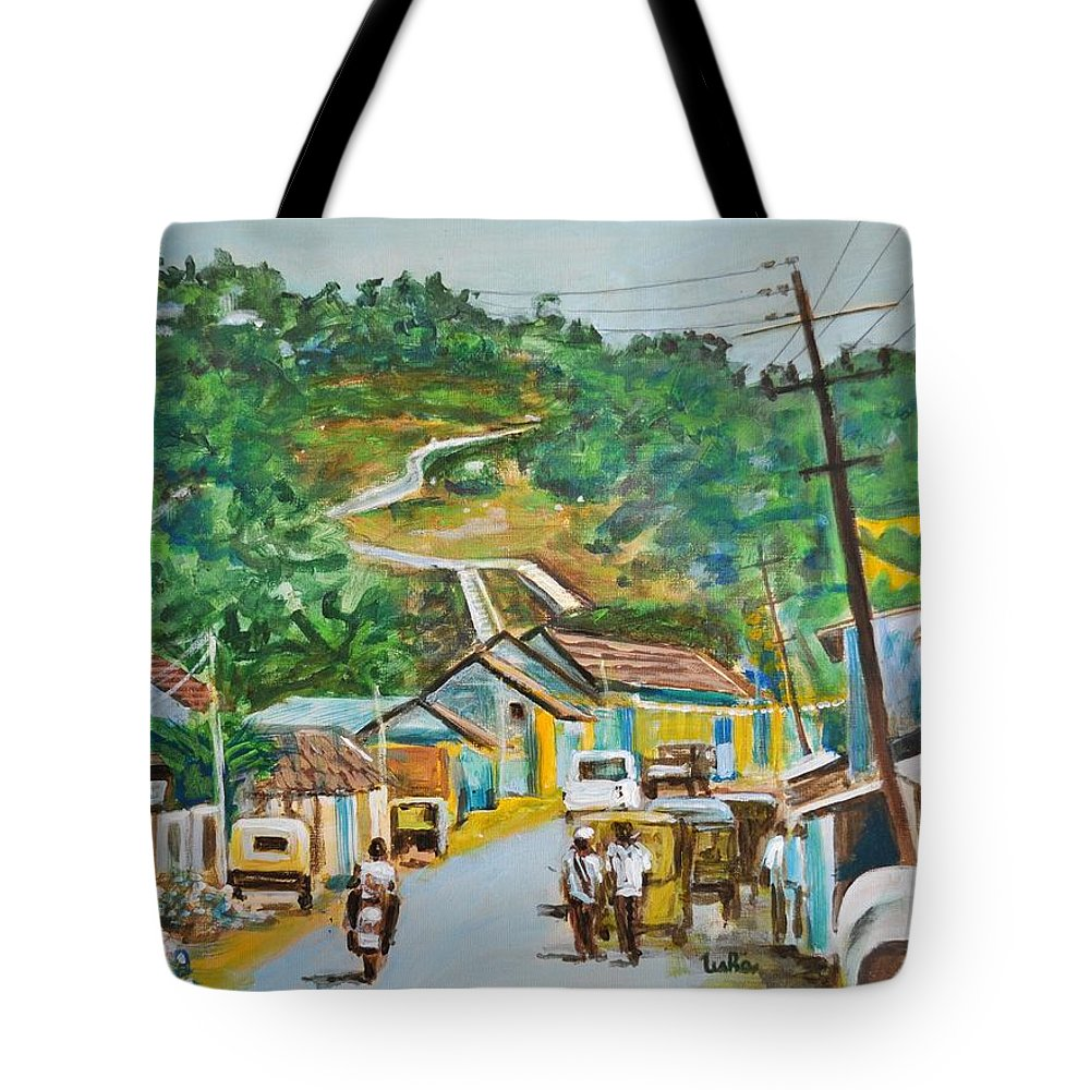 Virajpet Tote Bag featuring the painting Virajpet Town by Usha Shantharam