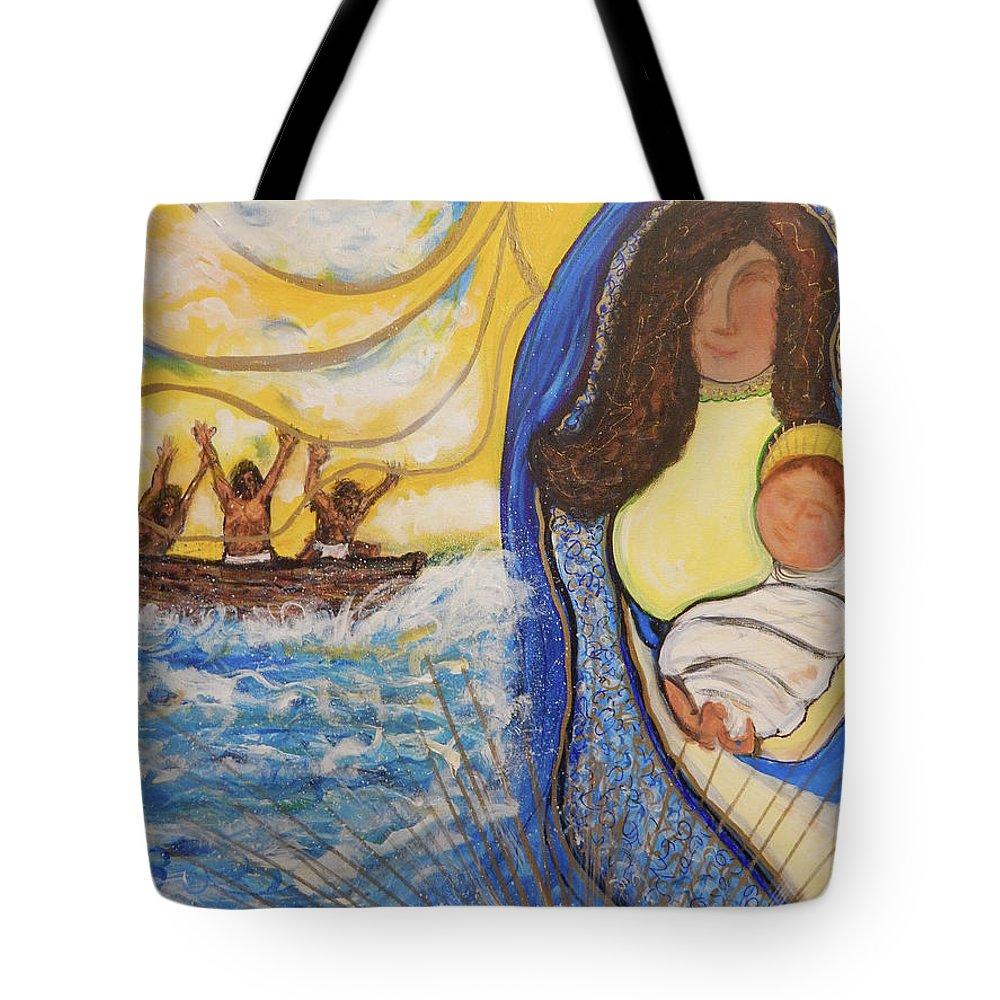 Virgen De La Caridad Tote Bag featuring the mixed media Virgen de la Caridad by Jorge Delara