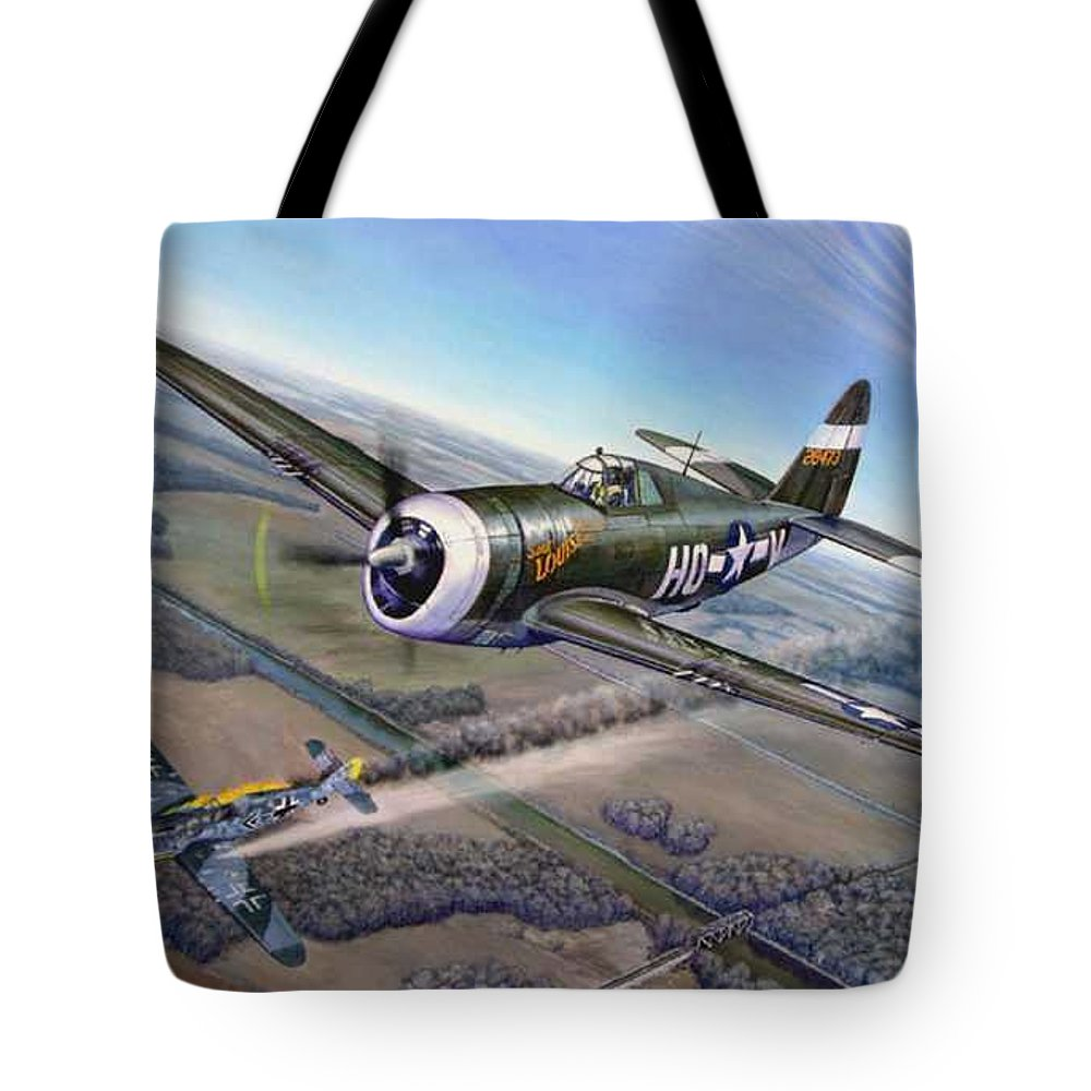 The 352nd Fighter Groups First Ace Shoots Down The German Ace Klaus Mietush On March 8th 1944 Tote Bag featuring the painting Virgil Meroney downs Klaus Mietush by Scott Robertson