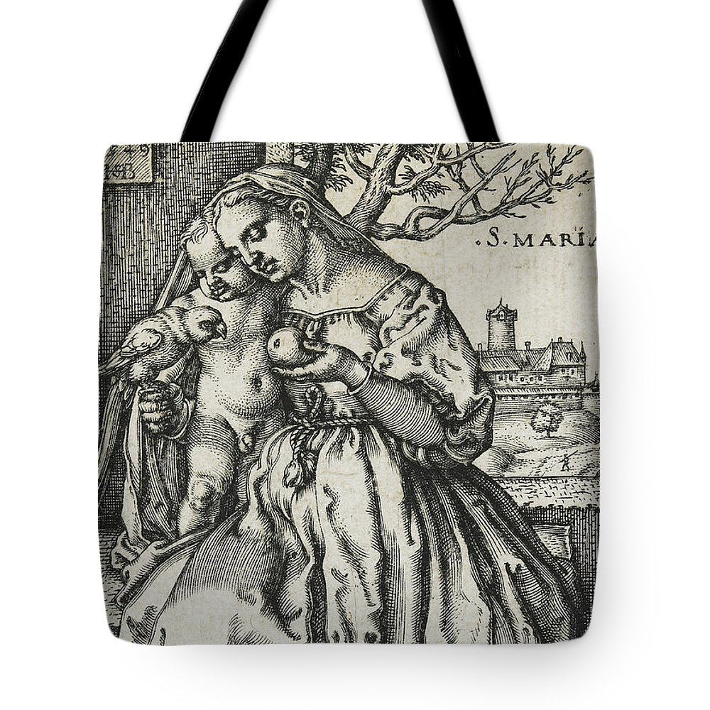 Virgin And Child With A Parrot Tote Bag featuring the drawing Virgin And Child With A Parrot by Hans Sebald Beham