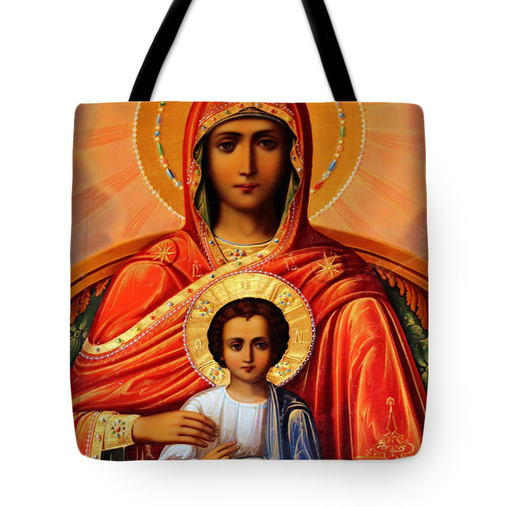 Virgin Tote Bag featuring the painting Virgin Mary Old Painting by Munir Alawi