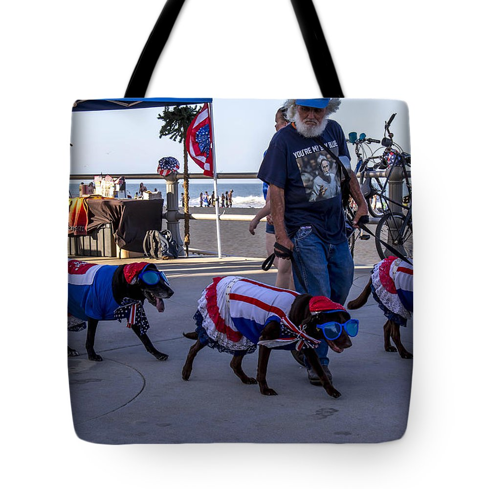 Virginia Beach Dogs Tote Bag featuring the photograph Virginia Beach Dogs by Samuel Gibbs
