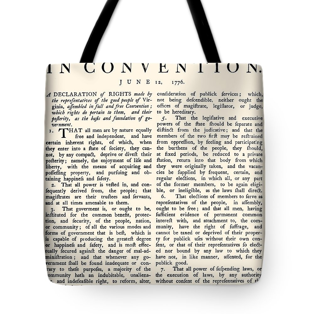 1776 Tote Bag featuring the photograph Virginia Constitution, 1776 by Granger