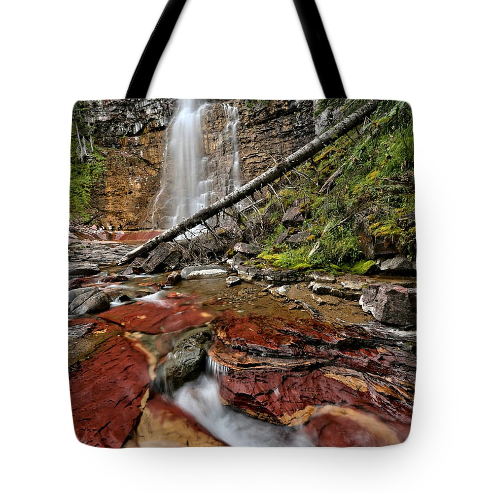 St Mary Falls Tote Bag featuring the photograph Virginia Falls Closeup by Adam Jewell
