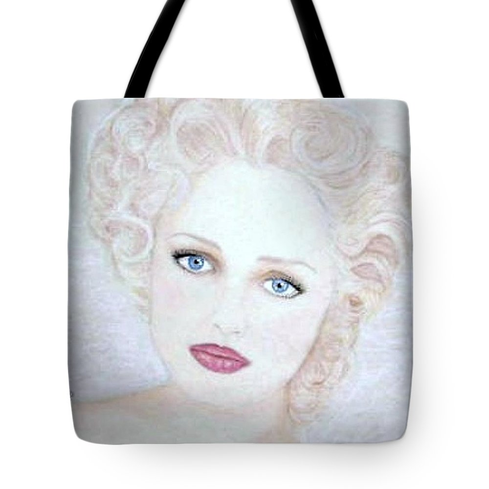 Face Tote Bag featuring the drawing Virginia by Scarlett Royal