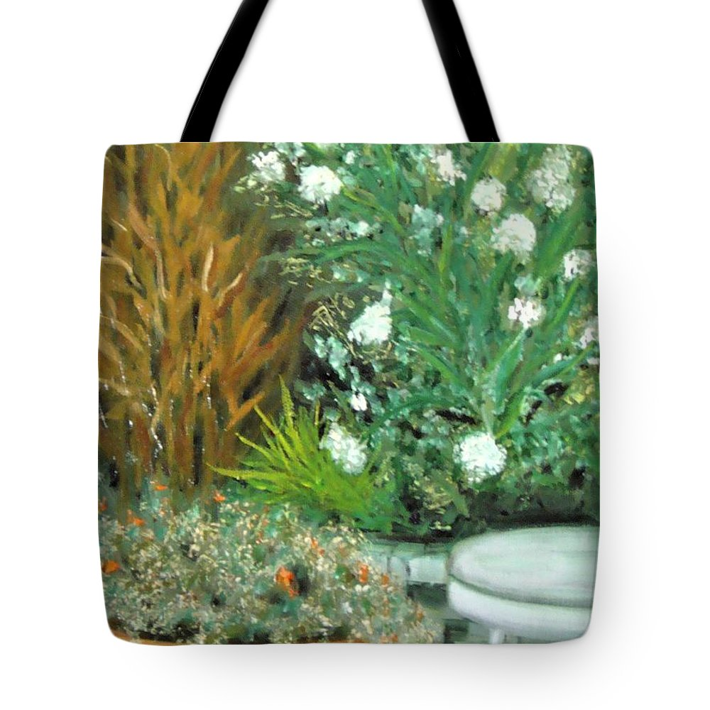Plein Air Tote Bag featuring the painting Virginia's Garden by Laurie Morgan