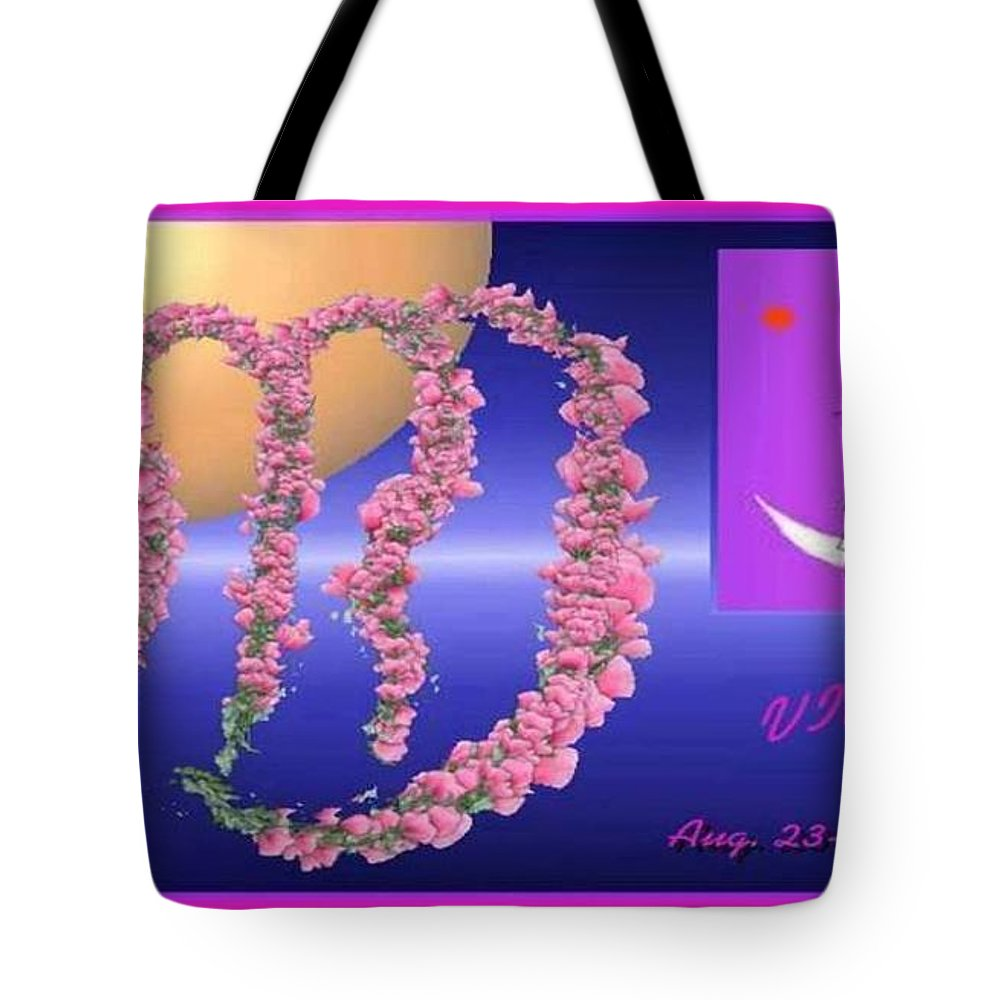 Virgo Tote Bag featuring the digital art Virgo With William Baumol by The Art of Alice Terrill