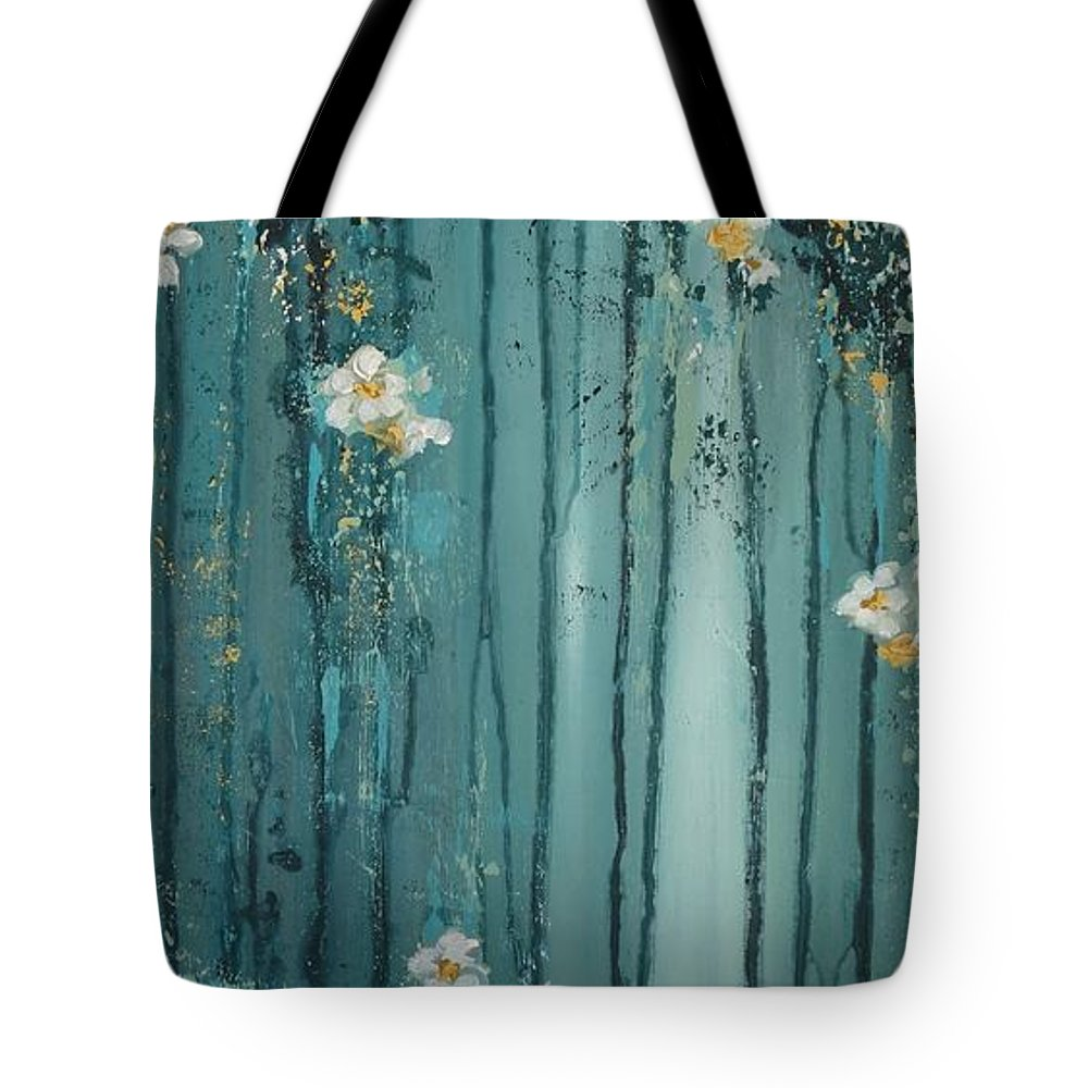 Tote Bag featuring the painting Viridian Bloom by Amy Chenoweth