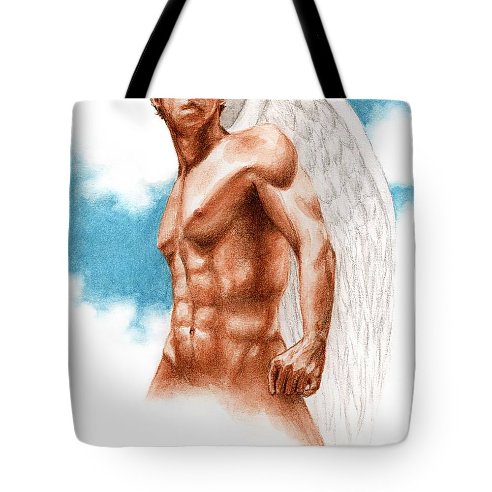 Male Angel Art Bruce Lennon Tote Bag featuring the painting Virtue by Bruce Lennon