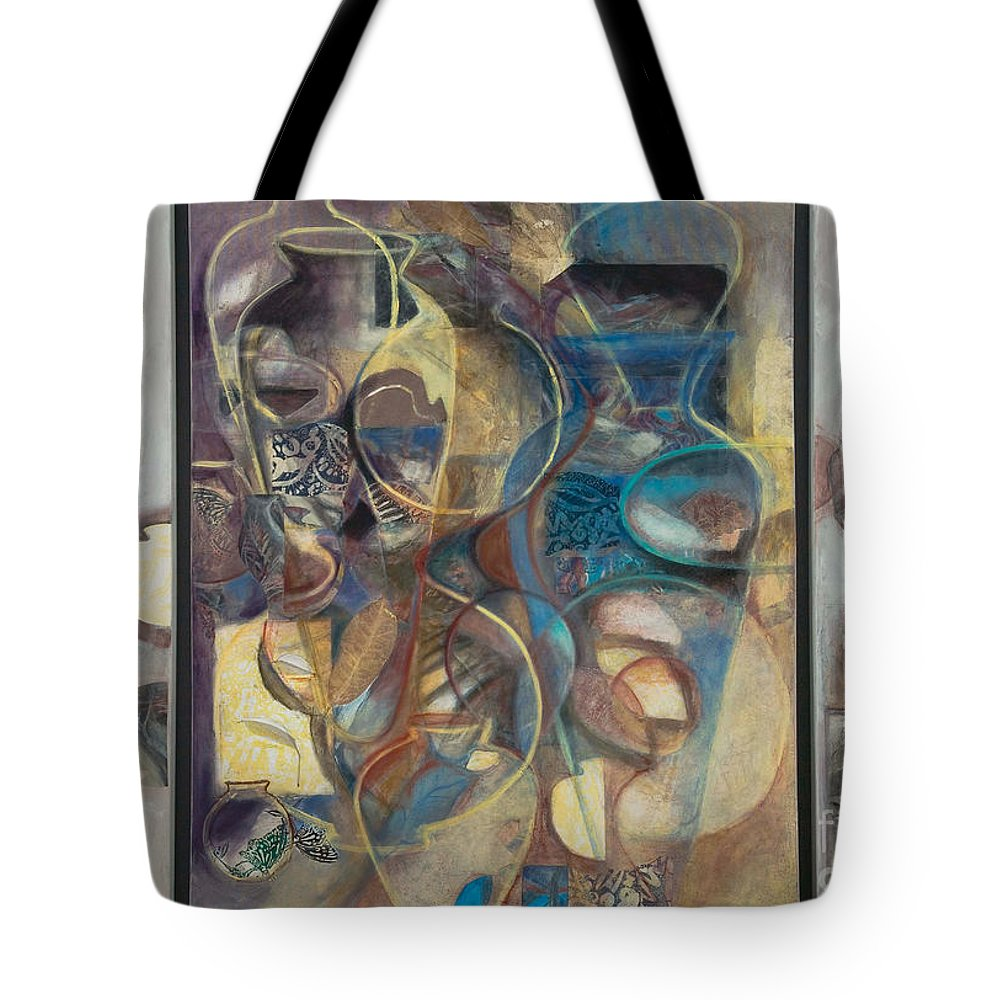 Vessels Tote Bag featuring the painting Visible Traces by Kerryn Madsen-Pietsch