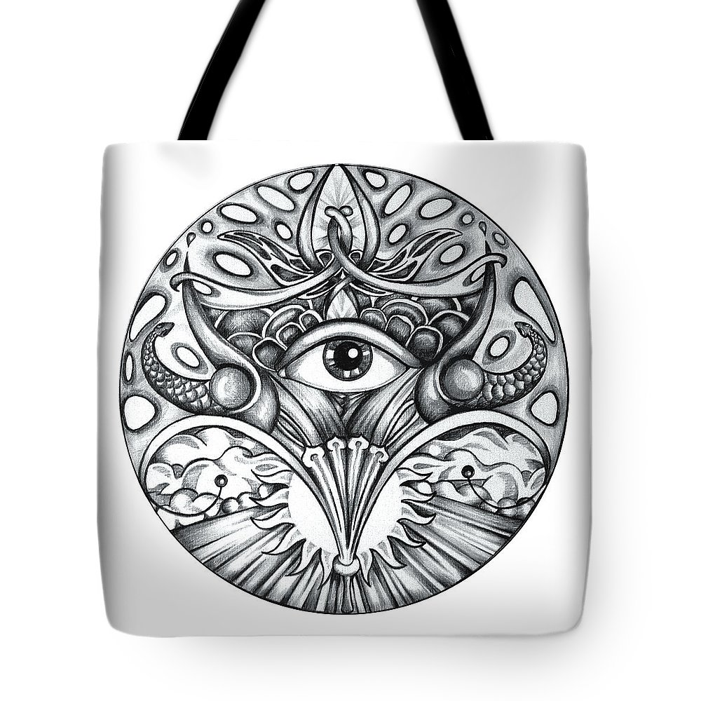 Eye Tote Bag featuring the drawing Vision by Shadia Derbyshire