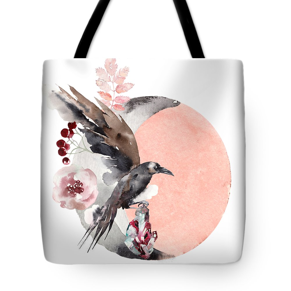 Moon Tote Bag featuring the painting Visions Of Crystal Eyed Ravens by Little Bunny Sunshine