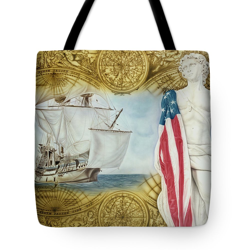 Ships Tote Bag featuring the painting Visions Of Discovery by Rich Milo