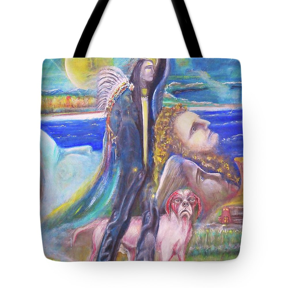 Native Amerian Tote Bag featuring the painting Visiting Star Beings by Kicking Bear Productions