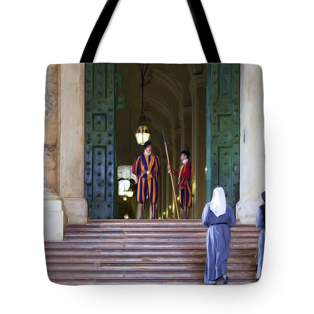 Rome Tote Bag featuring the painting Visitors by Janet Fikar