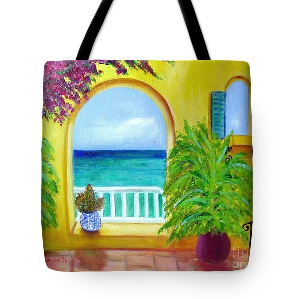Patio Tote Bag featuring the painting Vista Del Agua by Laurie Morgan