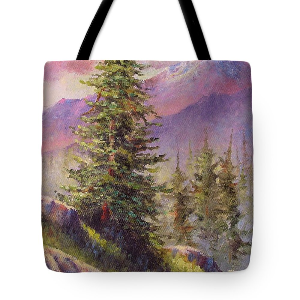Mountain Tote Bag featuring the painting Vista View by David G Paul