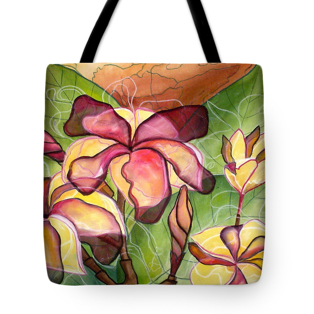 Plumeria Tote Bag featuring the painting Vivian's Plumeria by Kimberly Kirk