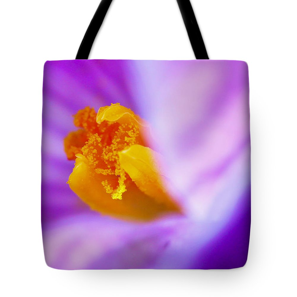 Crocus Tote Bag featuring the photograph Vivid Crocus Detail by Mo Barton