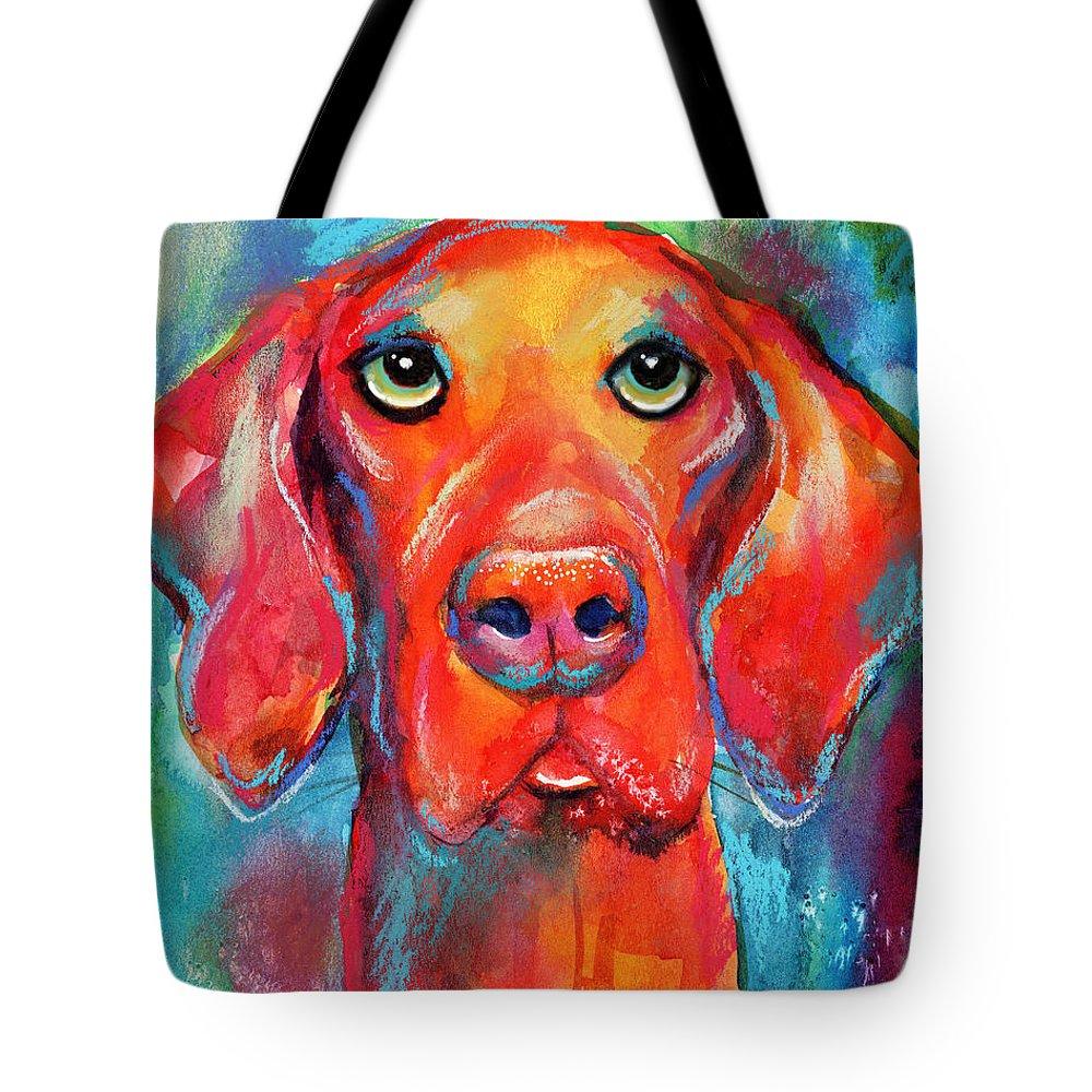 Vizsla Tote Bag featuring the painting Vizsla Dog Portrait by Svetlana Novikova