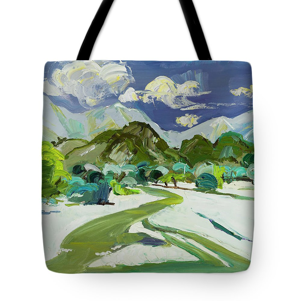Vlora Tote Bag featuring the painting Vlora River, Albania - Lumi I Vlores by Azem Kucana