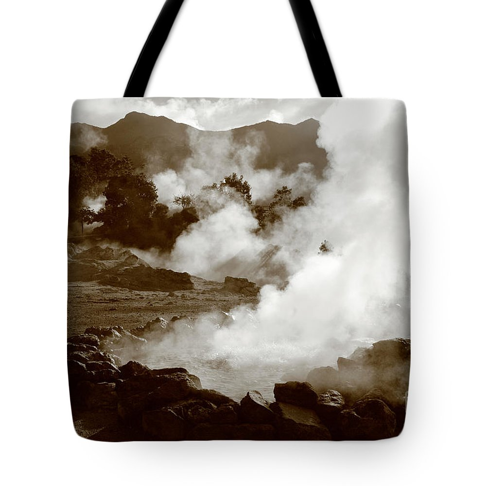 Azores Tote Bag featuring the photograph Volcanic Steam by Gaspar Avila