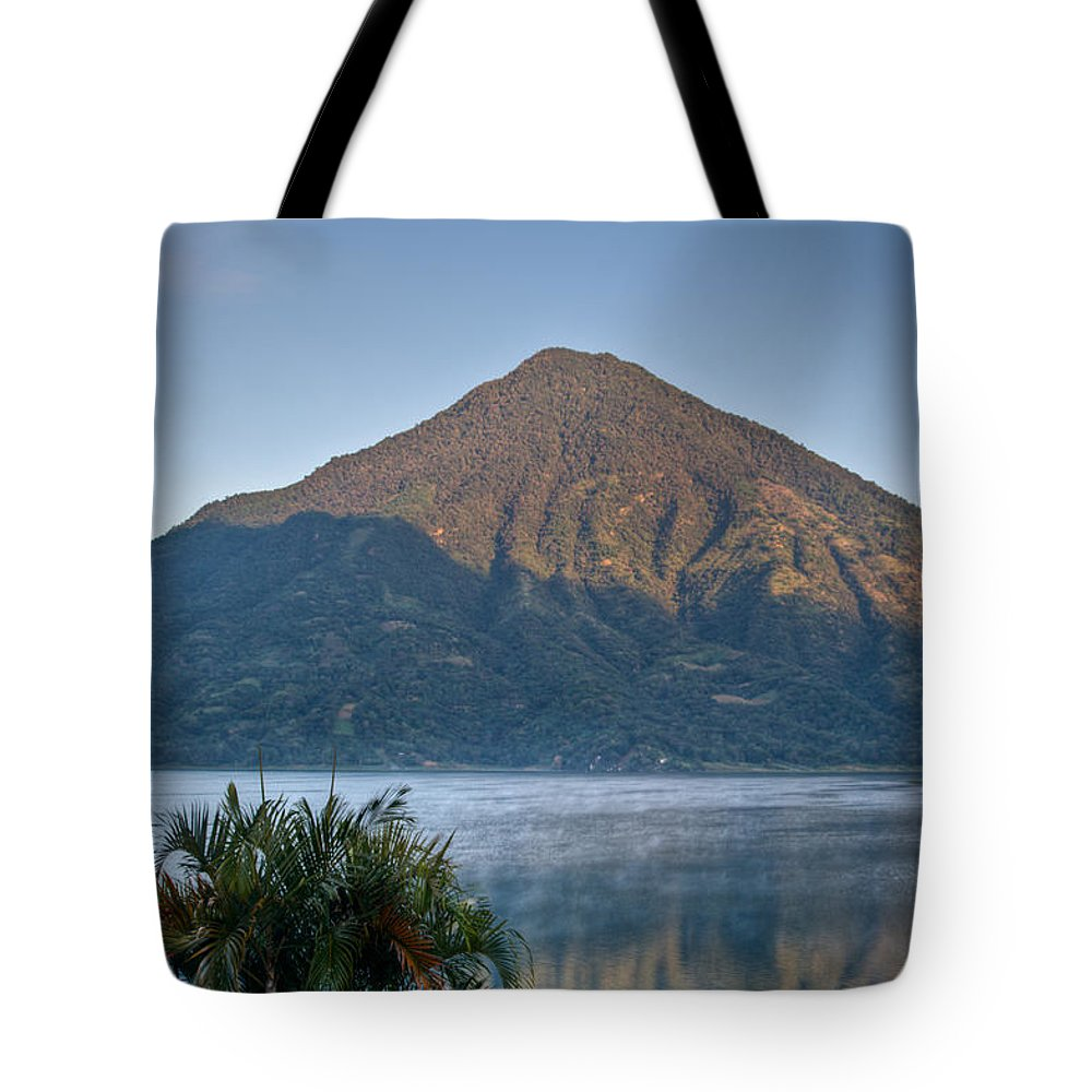 Volcano Tote Bag featuring the photograph Volcano And Reflection Lake Atitlan Guatemala by Douglas Barnett