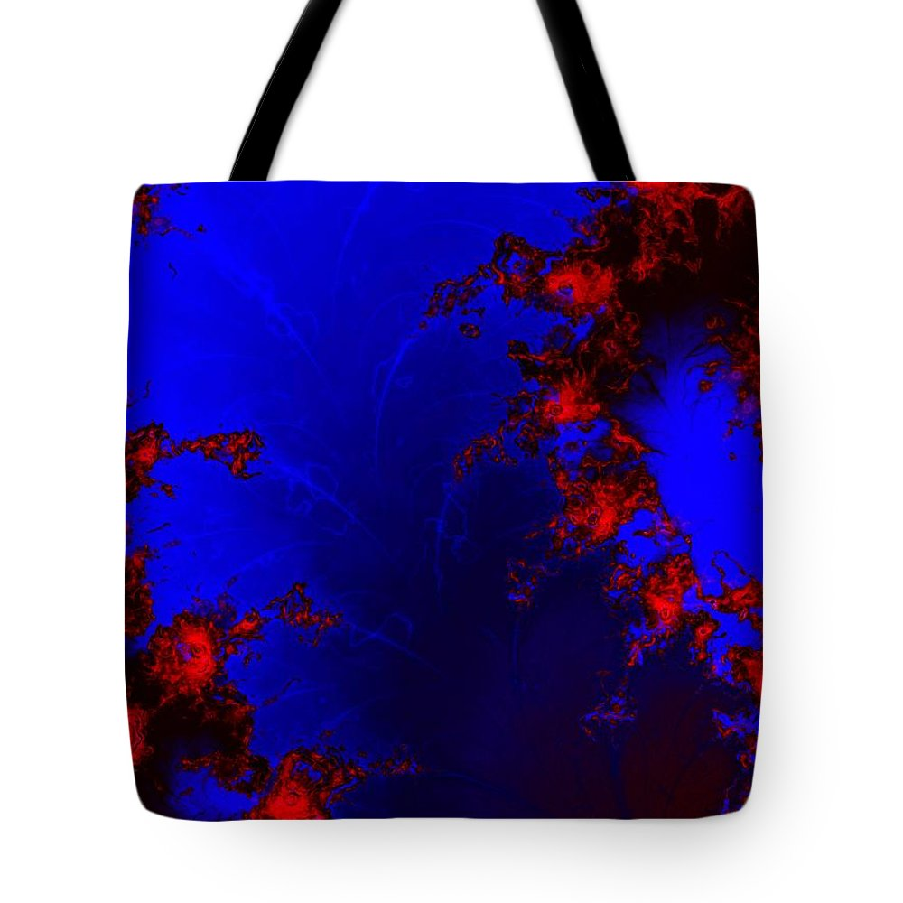 Lava Flow Wind Rythm Volcano Red Blue Tote Bag featuring the digital art Volcano by Veronica Jackson