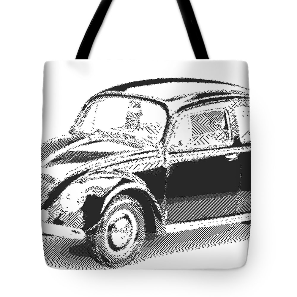 Vw Tote Bag featuring the drawing Volkswagen 1949 - Parallel Hatching by Samuel Majcen