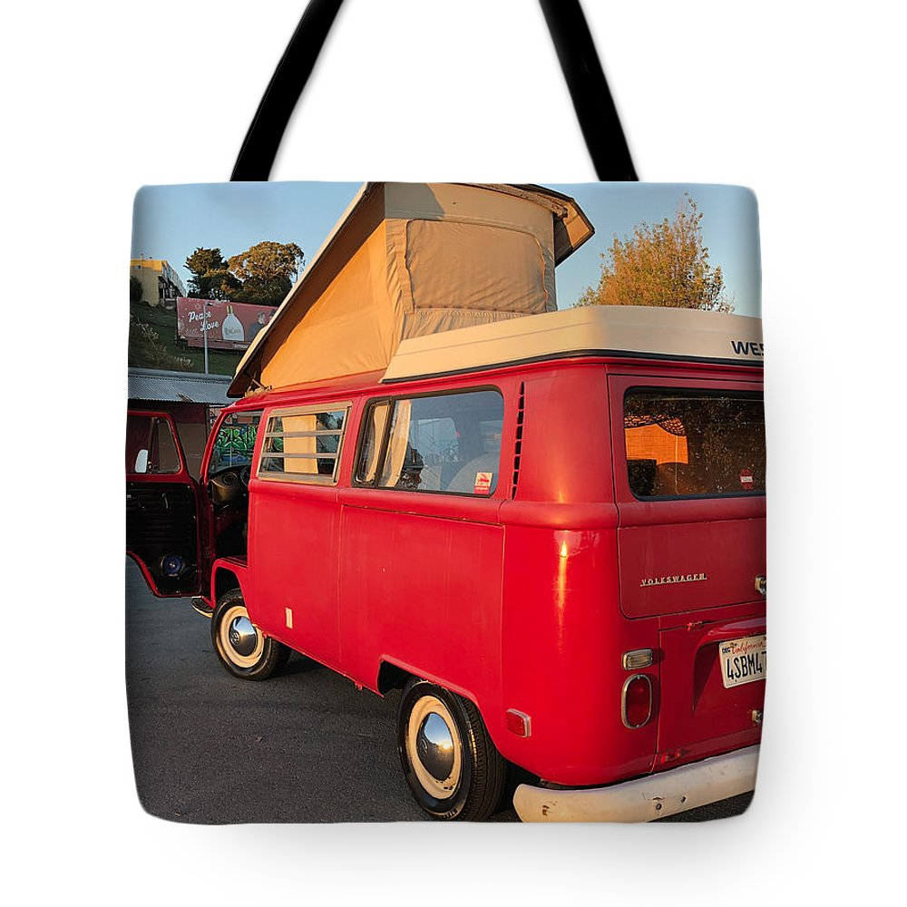 Volkswagen Bus T2 Westfalia Tote Bag featuring the photograph Volkswagen Bus T2 Westfalia by Jackie Russo