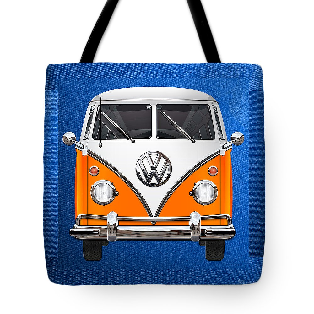 'volkswagen Type 2' Collection By Serge Averbukh Tote Bag featuring the photograph Volkswagen Type - Orange And White Volkswagen T 1 Samba Bus Over Blue Canvas by Serge Averbukh