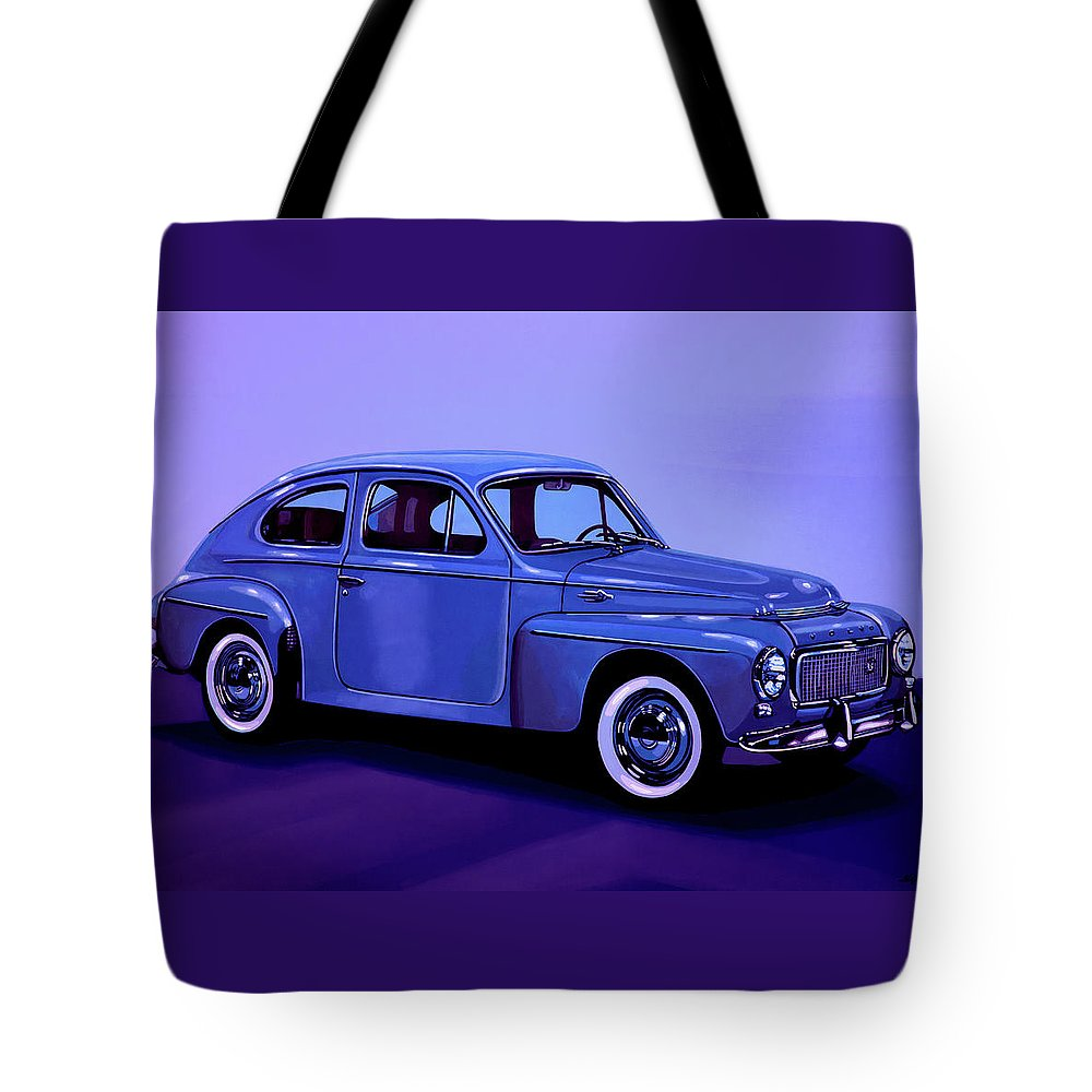 Volvo Pv544 Tote Bag featuring the mixed media Volvo Pv 544 1958 Mixed Media by Paul Meijering