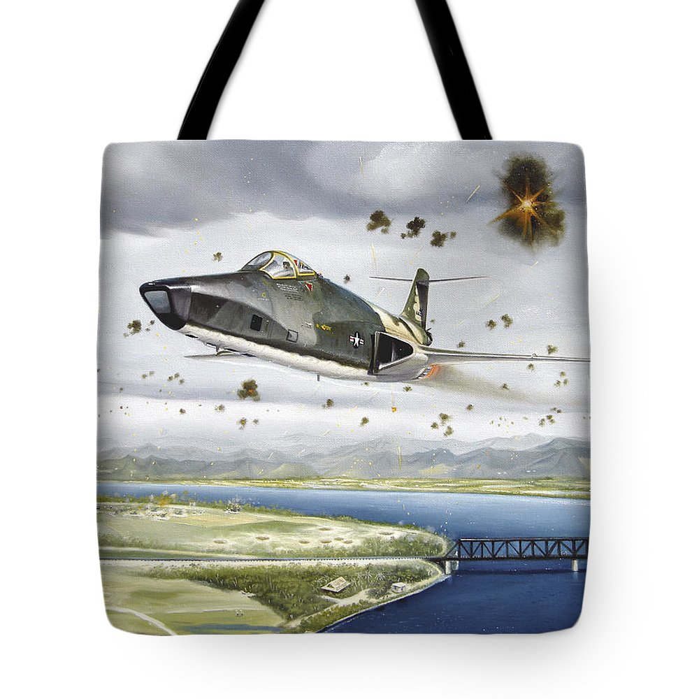 Military Tote Bag featuring the painting Voodoo Vs The Dragon by Marc Stewart