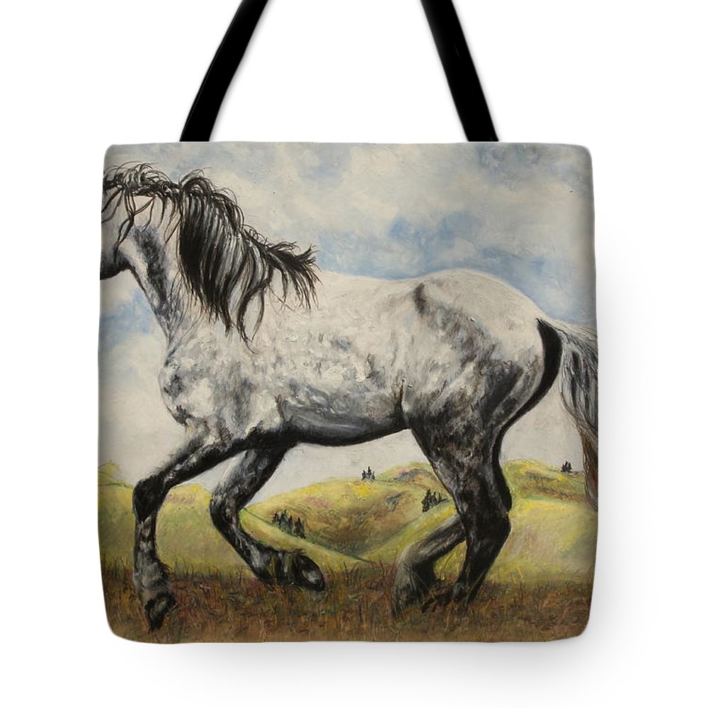 Nokota Horse Tote Bag featuring the painting Vor by Jeanne Fischer