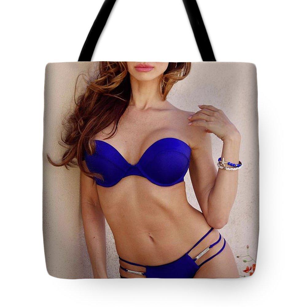 Bikini Model Tote Bag featuring the photograph Voula Blue Bikini by Ace Micheals