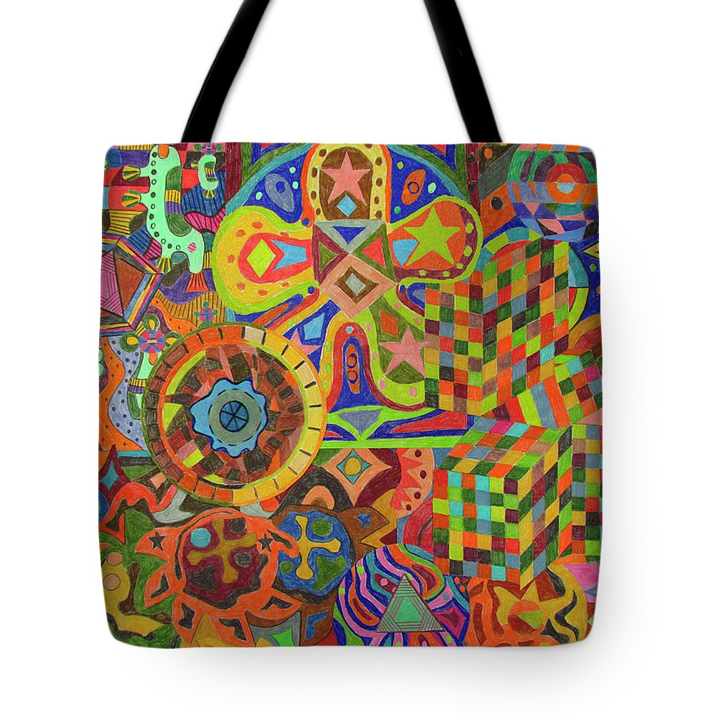 Fabric Pattern Tote Bag featuring the drawing VR6 by Ruben Pena