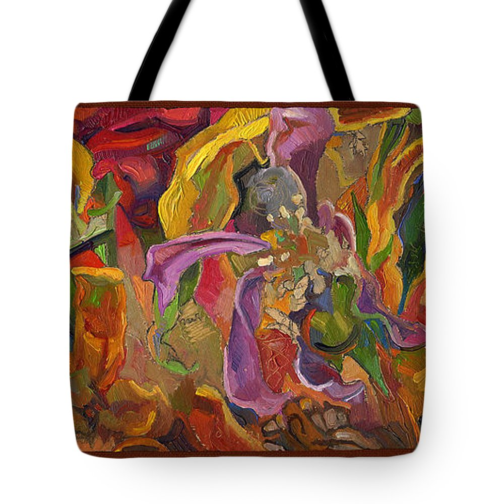Flowers Tote Bag featuring the painting Vsp Xxiv -marigolds by Juel Grant