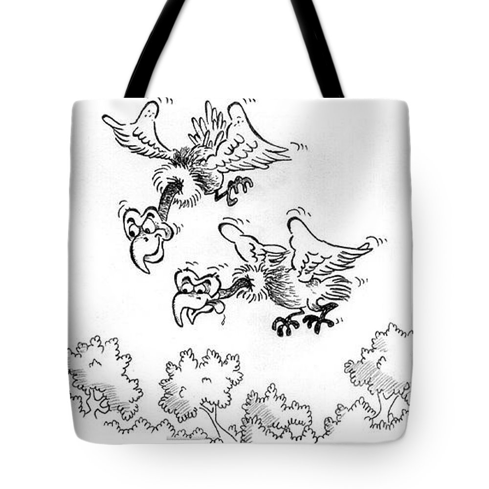 Vultures Tote Bag featuring the drawing Vultures by Ersin Ipek