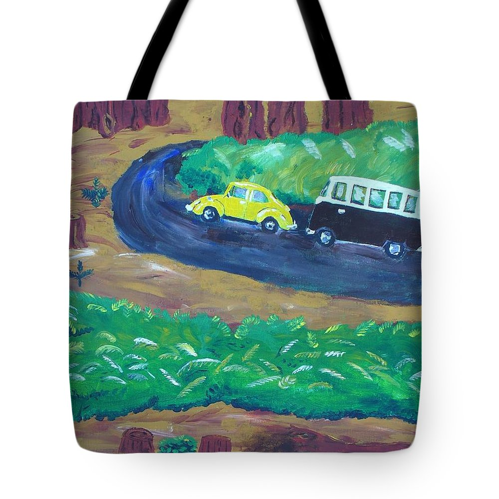 62 Vw Beetle; 1960 Vw Bus; Redwoods Tote Bag featuring the drawing Vws In The Redwoods by Nancy Suiter