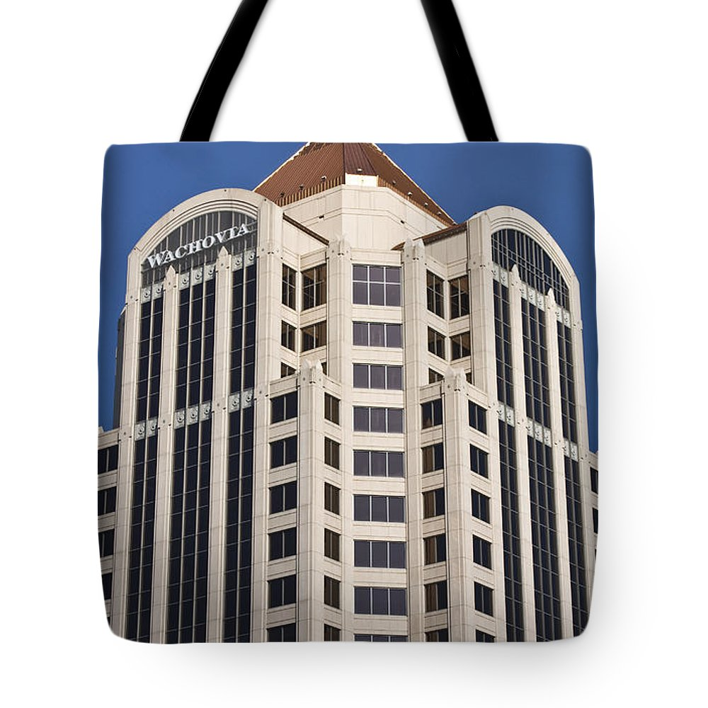 Roanoke Tote Bag featuring the photograph Wachovia Tower Roanoke Virginia by Teresa Mucha